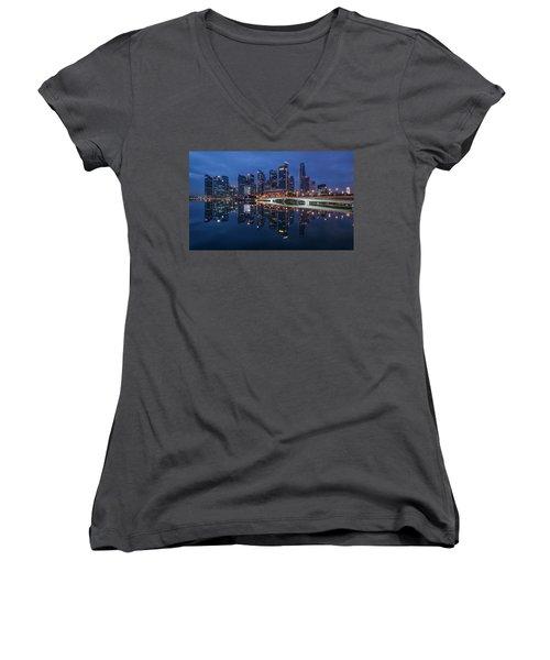 Singapore Skyline Reflection Women's V-Neck