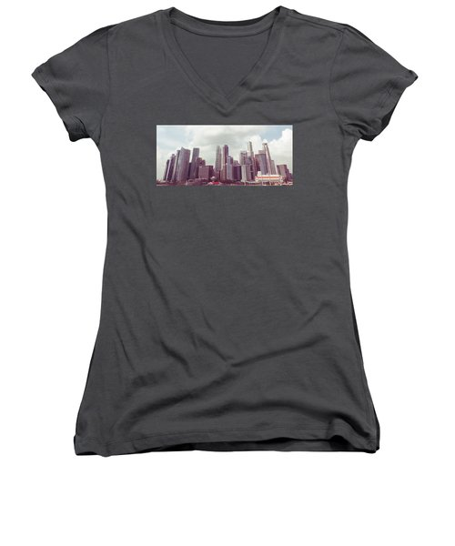 Women's V-Neck T-Shirt (Junior Cut) featuring the photograph Singaport Cityscape The Second by Joseph Westrupp
