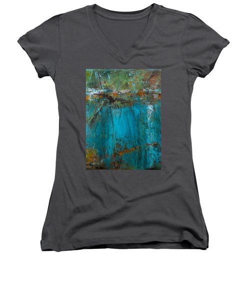 Singin' With Blues Women's V-Neck T-Shirt (Junior Cut) by Mary Sullivan