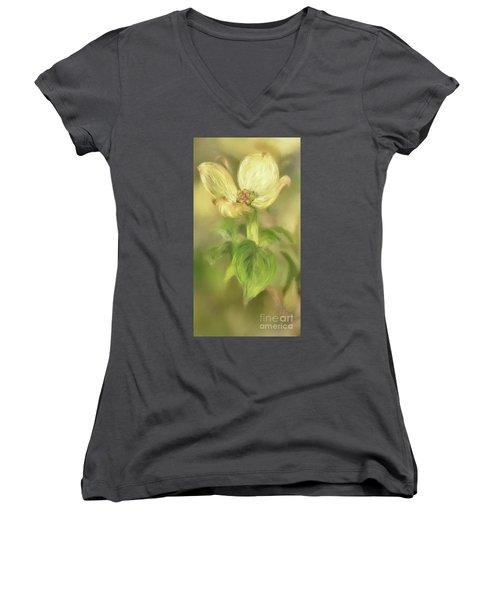 Single Dogwood Blossom In Evening Light Women's V-Neck T-Shirt (Junior Cut) by Lois Bryan