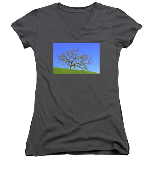 Women's V-Neck T-Shirt (Junior Cut) featuring the photograph Single Oak Tree by Art Block Collections