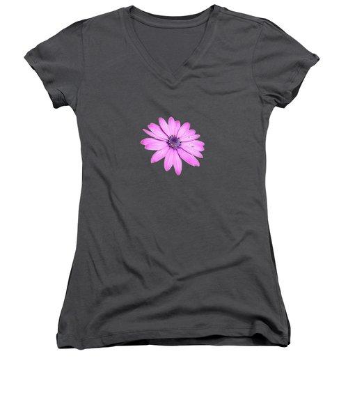 Single Pink African Daisy Women's V-Neck T-Shirt (Junior Cut) by Tracey Harrington-Simpson