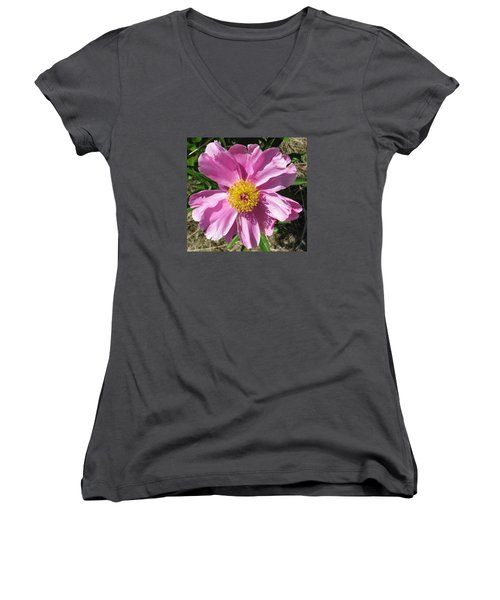 Single Pink Peony Women's V-Neck (Athletic Fit)