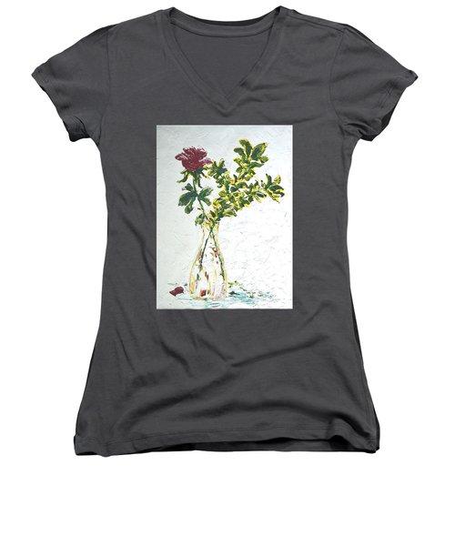 Single Red Rose Women's V-Neck T-Shirt (Junior Cut) by Lynda Cookson