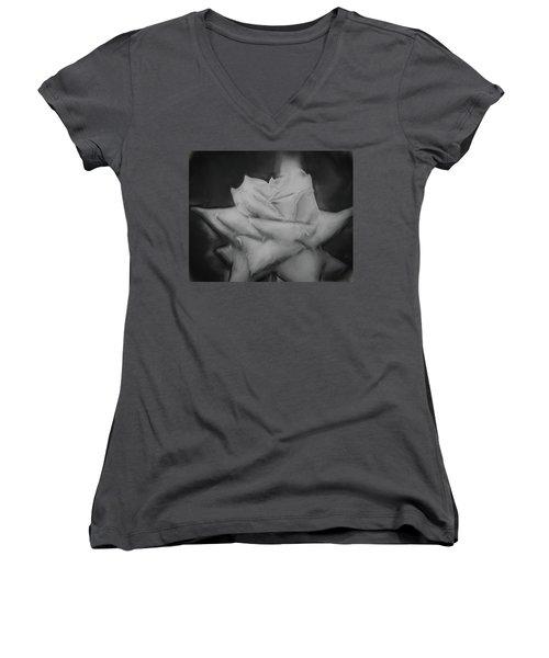 Single Rose Women's V-Neck T-Shirt (Junior Cut) by Cathy Jourdan