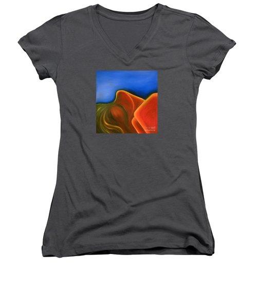 Sinuous Curves Iv Women's V-Neck T-Shirt (Junior Cut) by Fanny Diaz