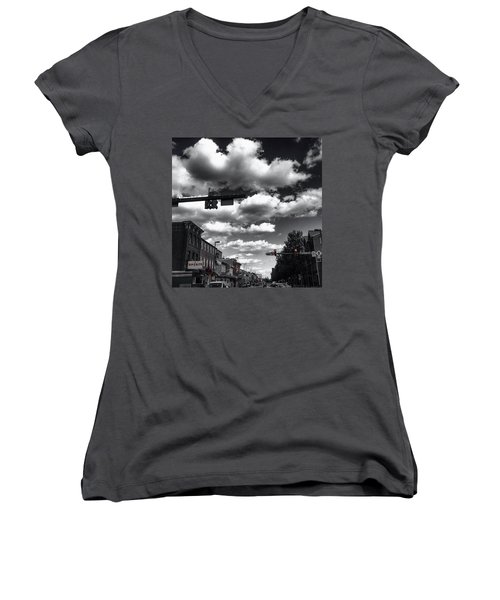 Women's V-Neck T-Shirt (Junior Cut) featuring the photograph Sip And Bite by Toni Martsoukos