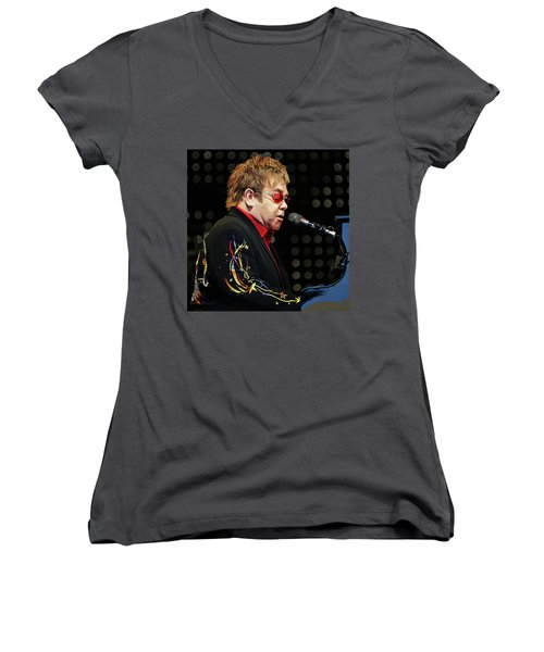 Sir Elton John At The Piano Women's V-Neck T-Shirt (Junior Cut) by Elaine Plesser