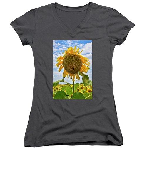 Sister Golden Hair Women's V-Neck T-Shirt (Junior Cut) by Skip Hunt
