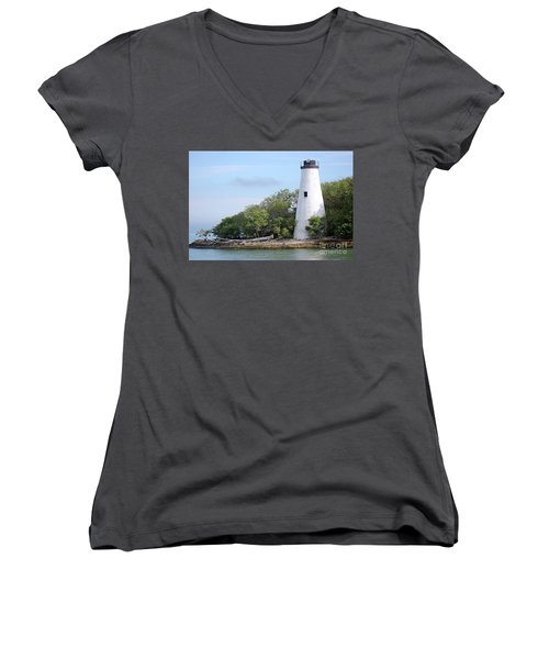 Sister Island Lighthouse Women's V-Neck T-Shirt (Junior Cut) by The Art of Alice Terrill