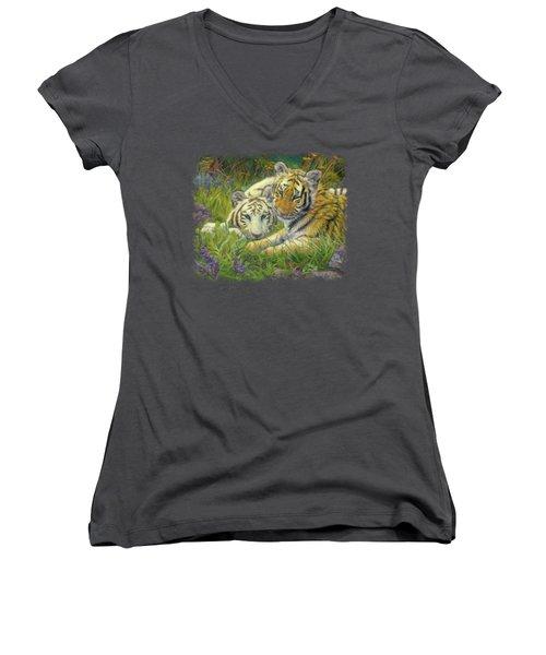 Sisters Women's V-Neck T-Shirt (Junior Cut) by Lucie Bilodeau