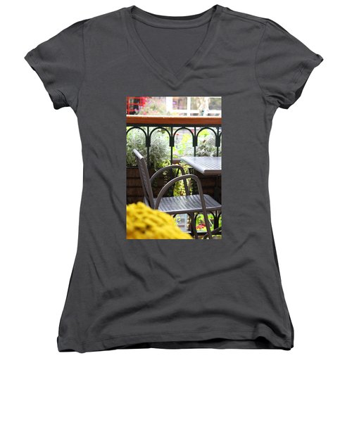 Women's V-Neck T-Shirt (Junior Cut) featuring the photograph Sit A While by Laddie Halupa