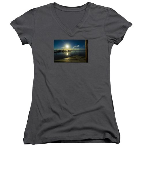 Sitting On The Dock Of The Bay Women's V-Neck T-Shirt (Junior Cut) by Kevin Cable