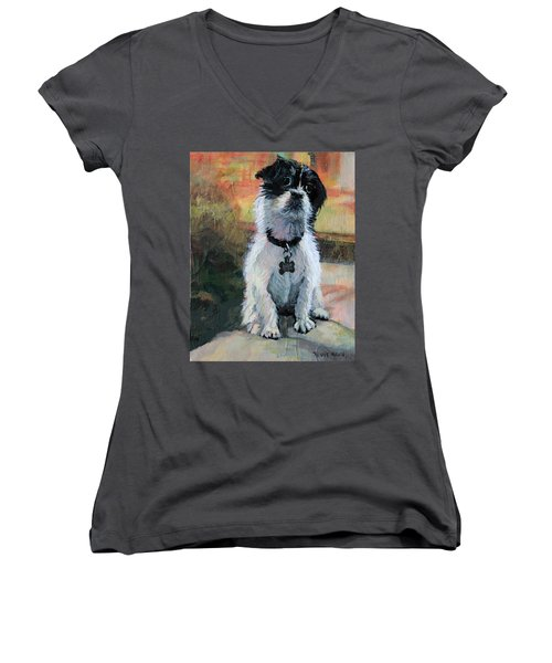 Sitting Pretty - Black And White Puppy Women's V-Neck T-Shirt (Junior Cut) by Bonnie Mason