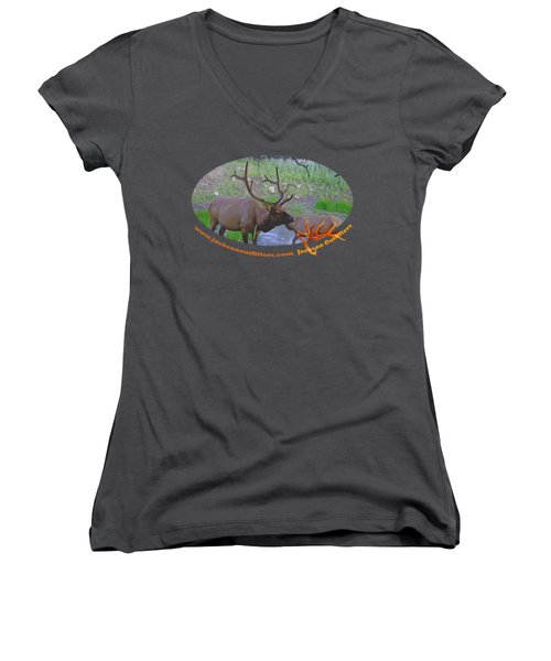 Six Point Bull Elk In Colorado Women's V-Neck (Athletic Fit)
