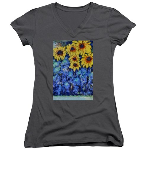 Six Sunflowers On Blue Women's V-Neck
