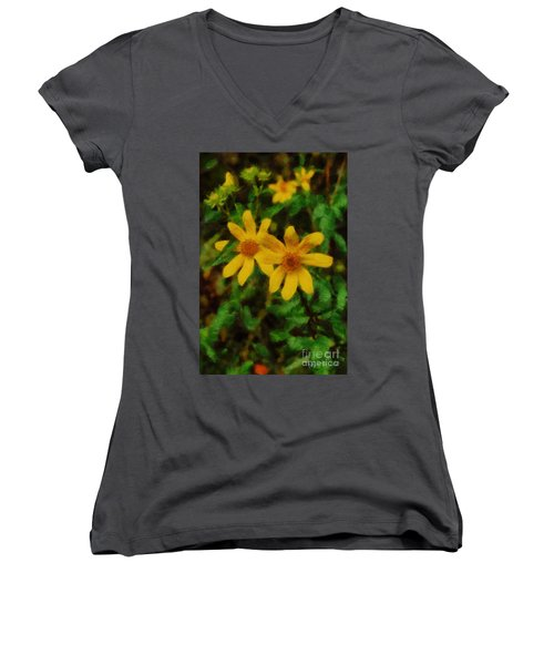 Sixteen Petals  Two Yellow Wildflowers Women's V-Neck T-Shirt