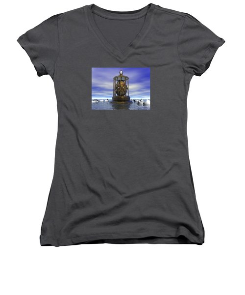 Women's V-Neck T-Shirt (Junior Cut) featuring the digital art Sixth Sense - Surrealism by Sipo Liimatainen
