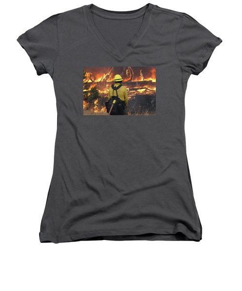 Women's V-Neck featuring the photograph Legion Lake Fire by Bill Gabbert