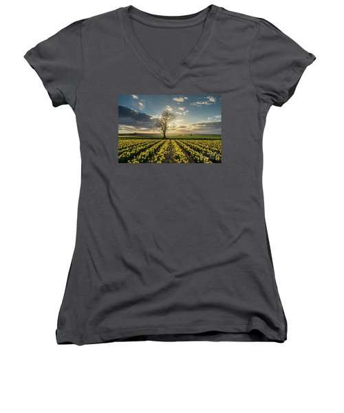 Women's V-Neck T-Shirt (Junior Cut) featuring the photograph Skagit Daffodils Lone Tree  by Mike Reid