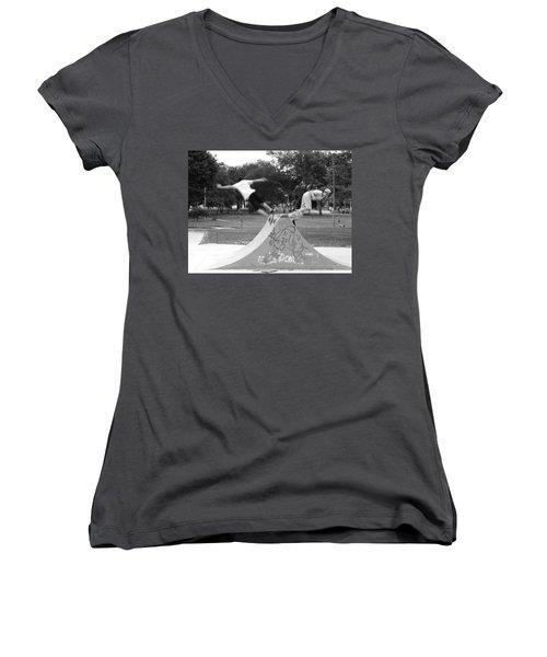Skate Ballet Women's V-Neck T-Shirt (Junior Cut) by Beto Machado