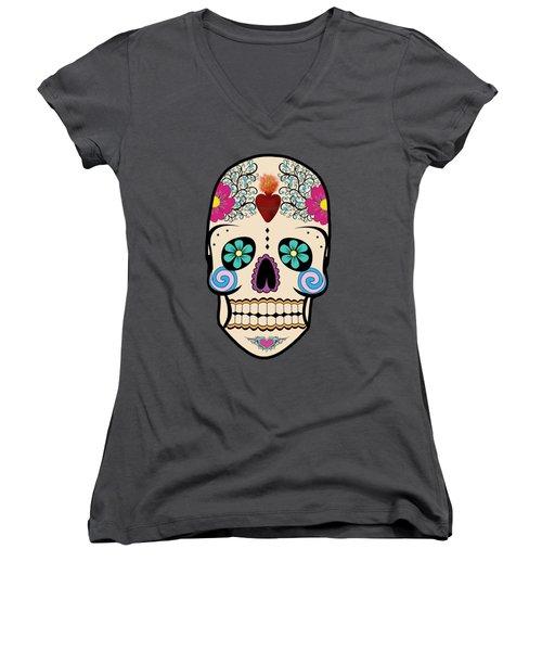 Skeleton Keyz Women's V-Neck T-Shirt (Junior Cut) by LozMac