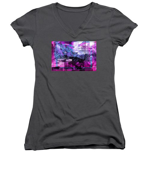 Sketching Flying Stars.. Women's V-Neck (Athletic Fit)