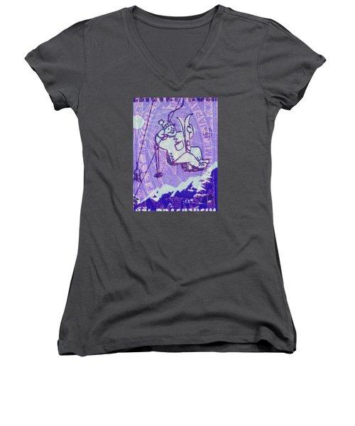 Ski Match Salute Women's V-Neck T-Shirt (Junior Cut) by Nop Briex