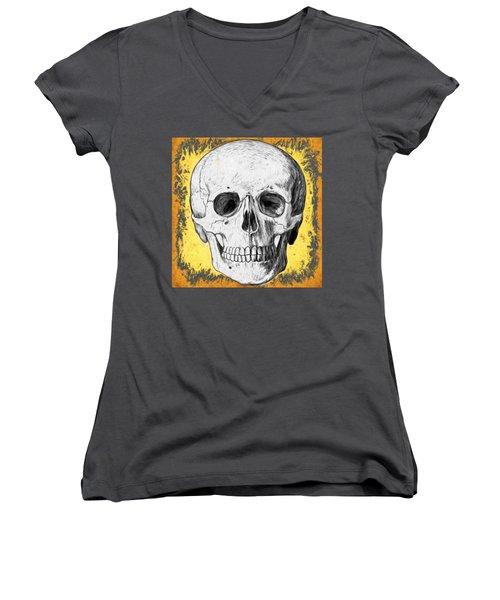Women's V-Neck featuring the digital art Skull by Alice Gipson