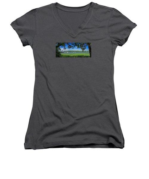 Skull Creek Area Women's V-Neck T-Shirt (Junior Cut) by Paul Mashburn