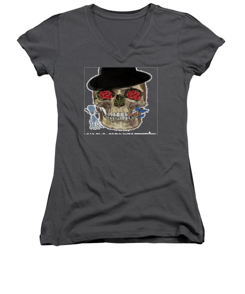 Skull In A Hat With Roses Women's V-Neck (Athletic Fit)