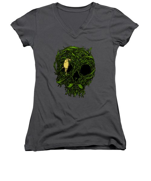 Skull Nest Women's V-Neck T-Shirt (Junior Cut) by Carbine