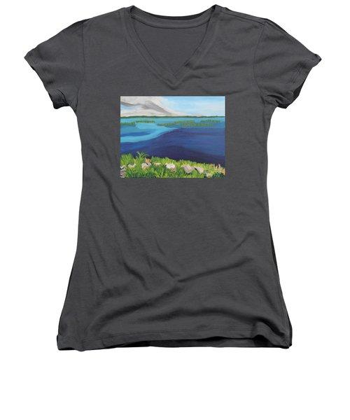 Serene Blue Lake Women's V-Neck