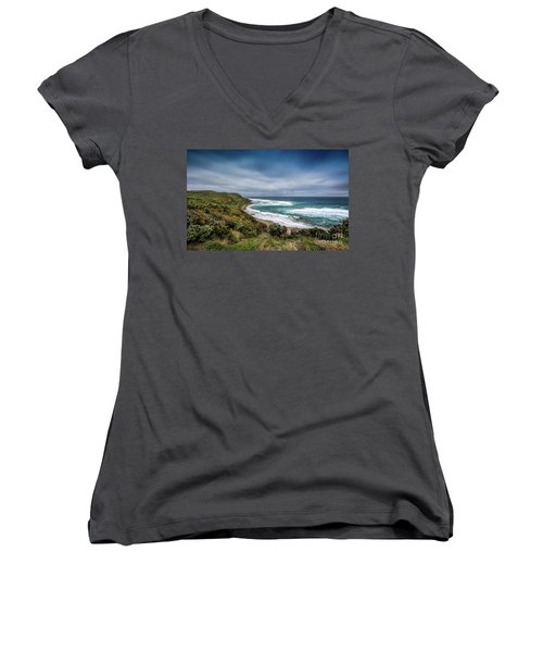 Women's V-Neck T-Shirt (Junior Cut) featuring the photograph Sky Blue Coast by Perry Webster