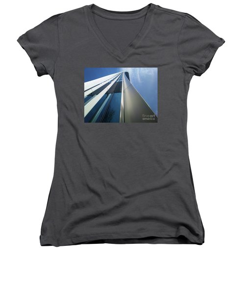 Women's V-Neck T-Shirt (Junior Cut) featuring the photograph Sky Garden - London by Hanza Turgul