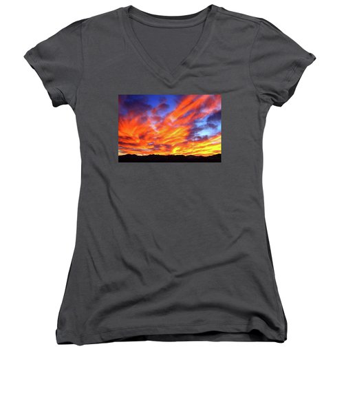 Sky On Fire #5 Women's V-Neck (Athletic Fit)