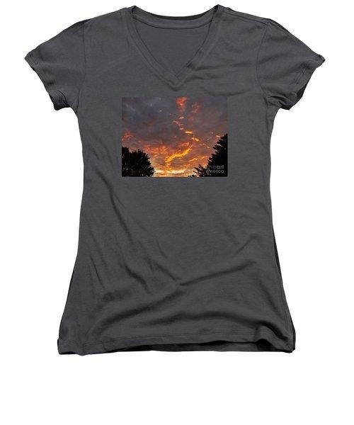 Sky On Fire Women's V-Neck T-Shirt (Junior Cut) by Christy Ricafrente