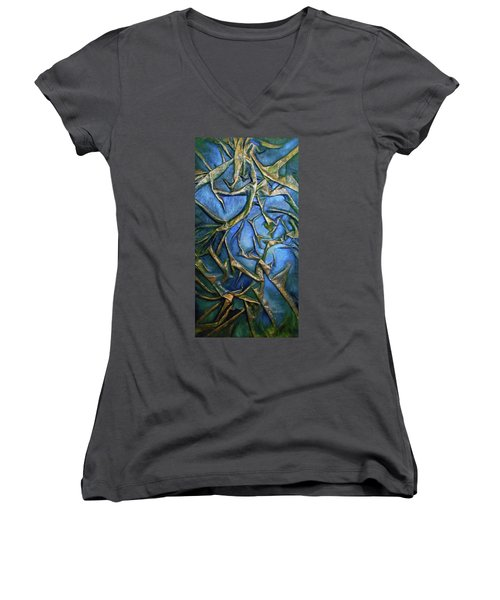Women's V-Neck T-Shirt (Junior Cut) featuring the mixed media Sky Through The Trees by Angela Stout