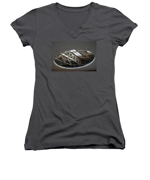 Women's V-Neck T-Shirt (Junior Cut) featuring the photograph Skylight Gurders by Rob Hans