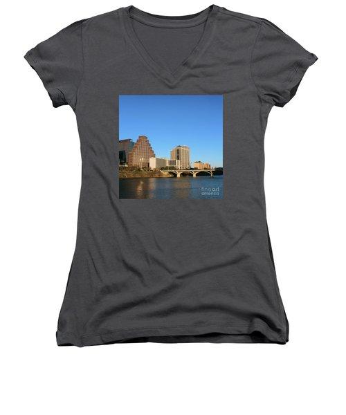 Skyline Atx Women's V-Neck T-Shirt (Junior Cut) by Sebastian Mathews Szewczyk