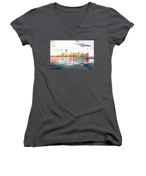 Skyline Of New York City, United States Women's V-Neck