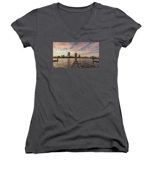 Women's V-Neck T-Shirt featuring the photograph Skyline Sunset by Randy Scherkenbach