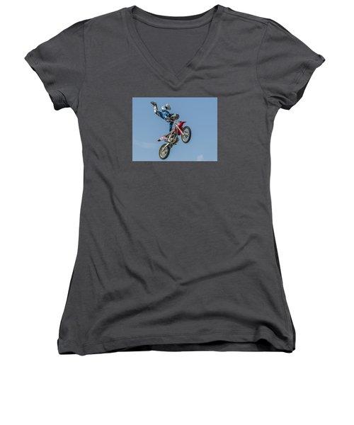 Women's V-Neck T-Shirt (Junior Cut) featuring the photograph Skyrider by Brian Tarr