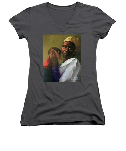 Women's V-Neck T-Shirt (Junior Cut) featuring the painting Slaughter Of The Innocents by Marlene Book