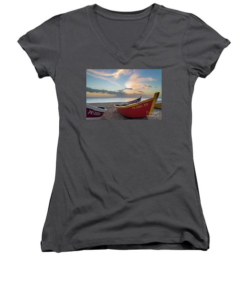 Sleeping Boats On The Beach Women's V-Neck