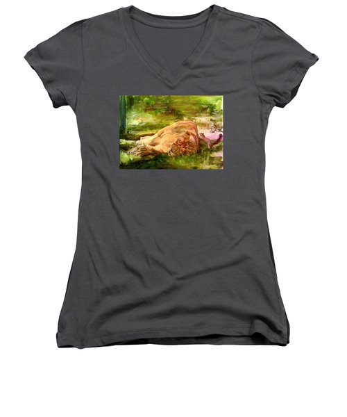 Sleeping Lionness Pushy Squirrel Women's V-Neck (Athletic Fit)