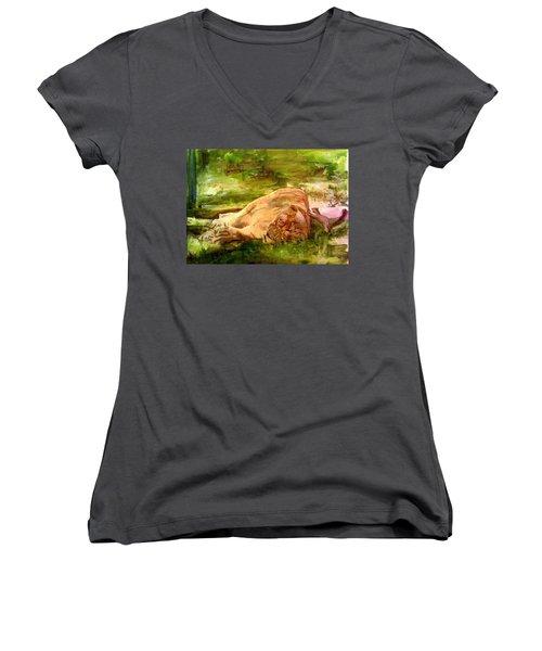 Sleeping Lionness Pushy Squirrel Women's V-Neck T-Shirt