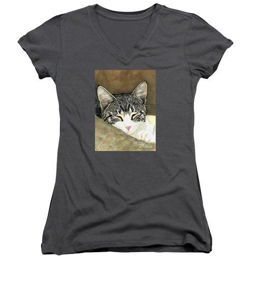 Sleeping Mia Women's V-Neck T-Shirt (Junior Cut) by Shari Nees