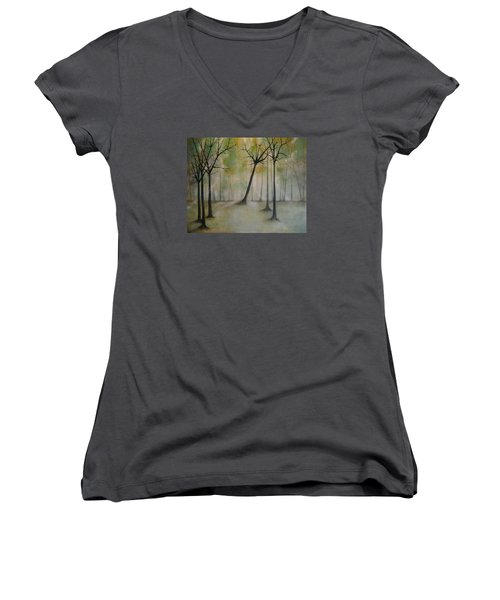 Women's V-Neck T-Shirt (Junior Cut) featuring the painting Sleeping Trees by Tamara Bettencourt