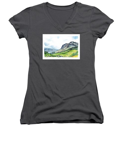 Women's V-Neck T-Shirt (Junior Cut) featuring the painting Sleeping Valley by Heidi Kriel